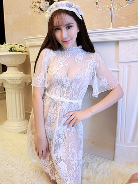 Sexy bridal lingerie costume outfit sheer dress women 39 s for Sexy wedding dress costume
