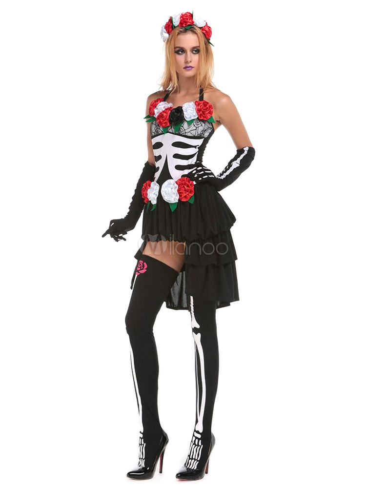 sugar skull kost m halloween damen blume skelett hoch niedrig kleid outfit. Black Bedroom Furniture Sets. Home Design Ideas