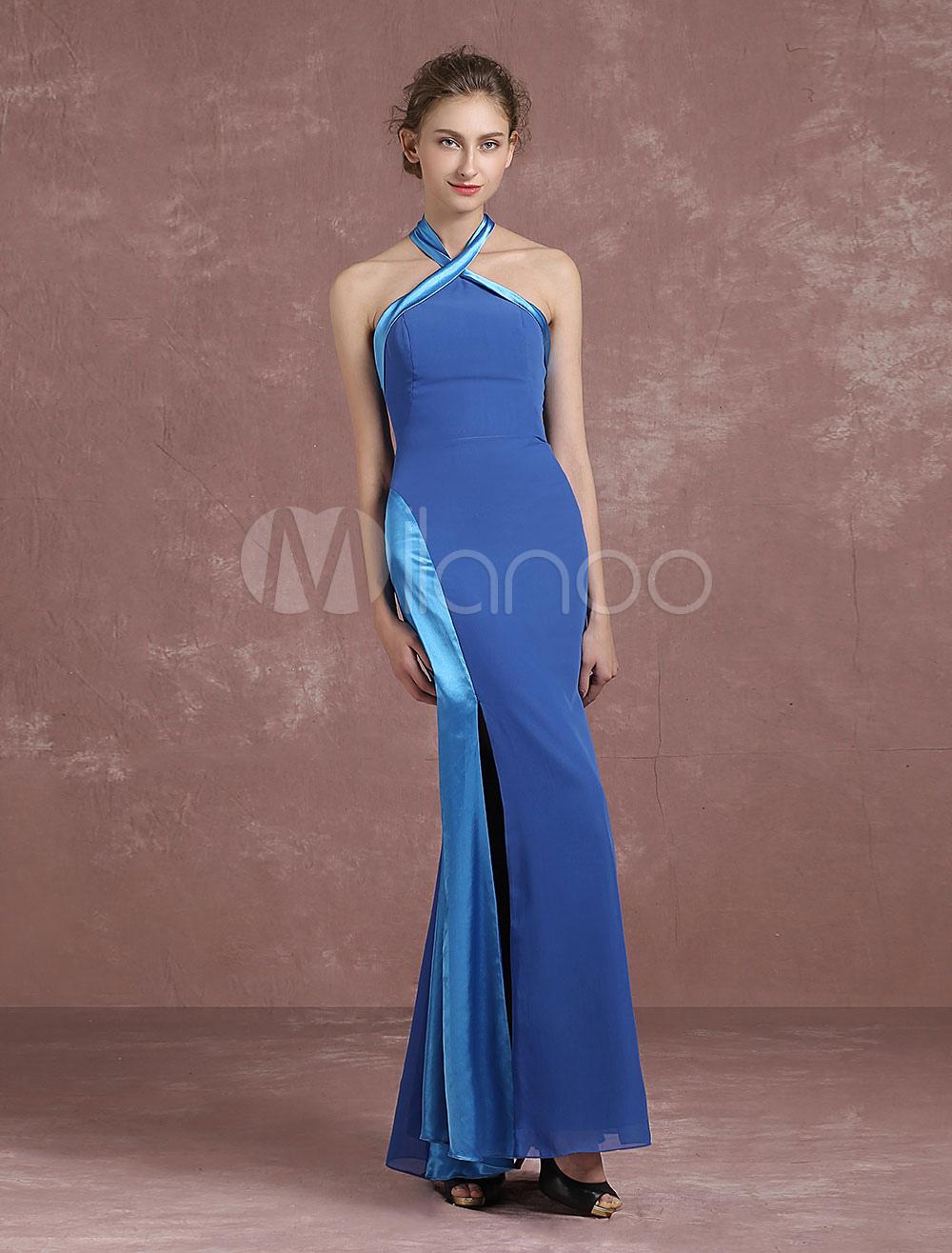 Halter Evening Dress Mermaid High Split Party Dress Bowknot Royal Blue Color Block Ankle Length Formal Dress (Wedding Evening Dresses) photo