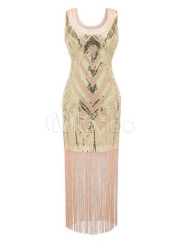 Great Gatsby Flapper Dress 1920s Vintage Costume Women's Sequined Pink Tassels Maxi Dress Halloween (Costumes Flapper Dresses) photo
