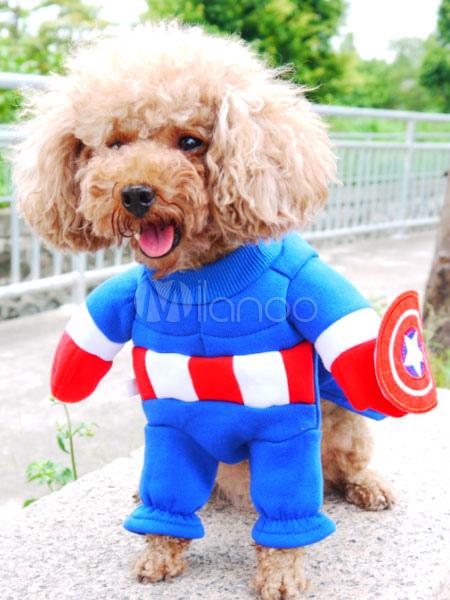 costume de chien d 39 halloween blue captain america costumes pour animaux de compagnie. Black Bedroom Furniture Sets. Home Design Ideas