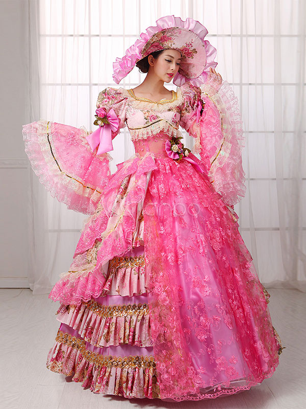 Women's Vintage Costume Victorian Ball Gown Pink Lace Dress Halloween (Costumes) photo
