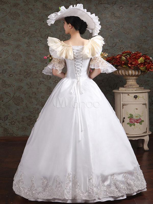damen vintage kost m viktorianische k nigliche halloween ball kleid wei e blume festzug kleid. Black Bedroom Furniture Sets. Home Design Ideas