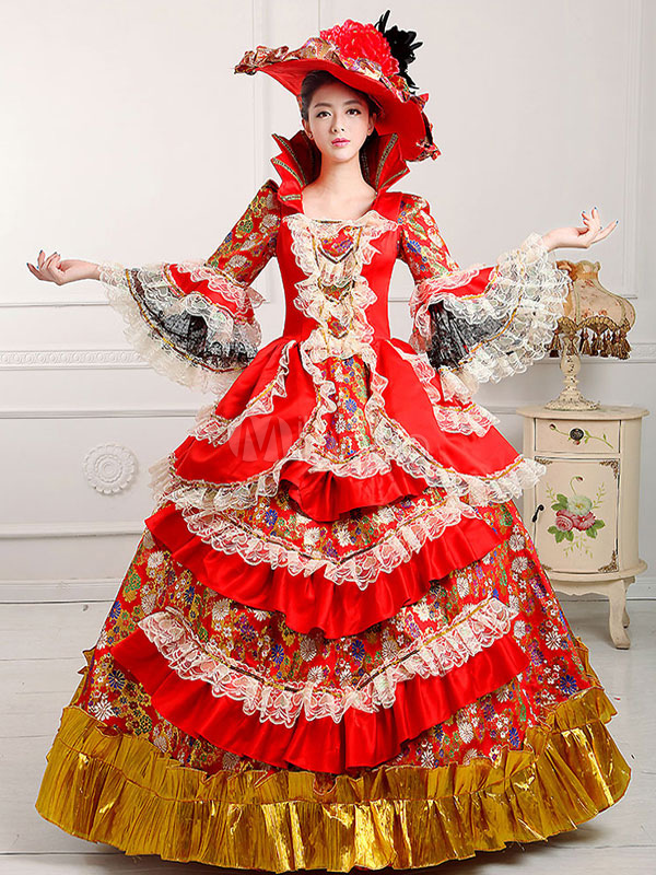 Women's Vintage Costume Victorian Royal Halloween Ball Gown Red Pageant Dress Halloween (Costumes) photo