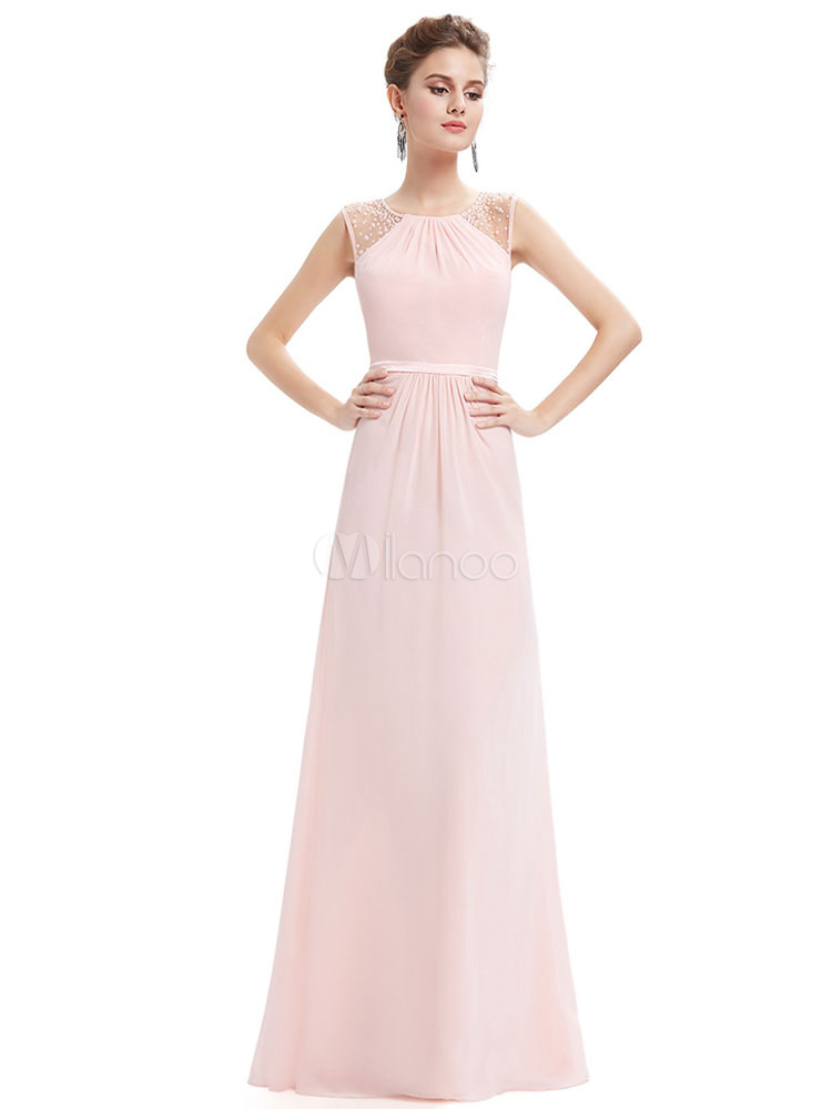 Blush Prom Dress Soft Pink Party Dress Chiffon Illusion Beading Keyhole Back A Line Floor Length Occasion Dress (Wedding Prom Dresses) photo