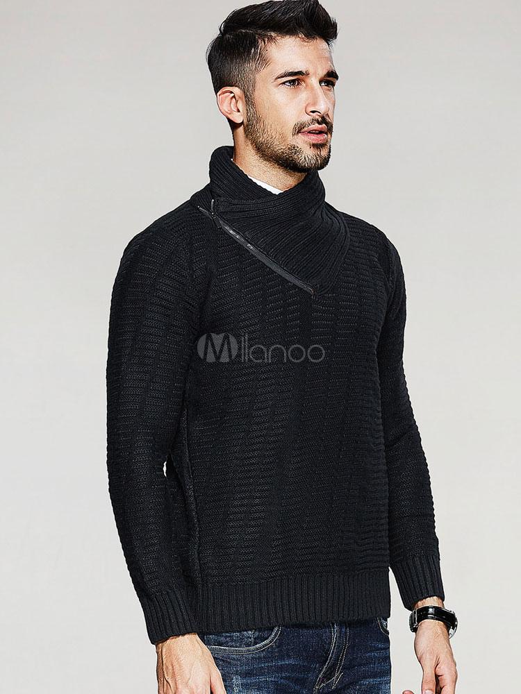 schwarzer pullover herren verzierte kragen pullover. Black Bedroom Furniture Sets. Home Design Ideas