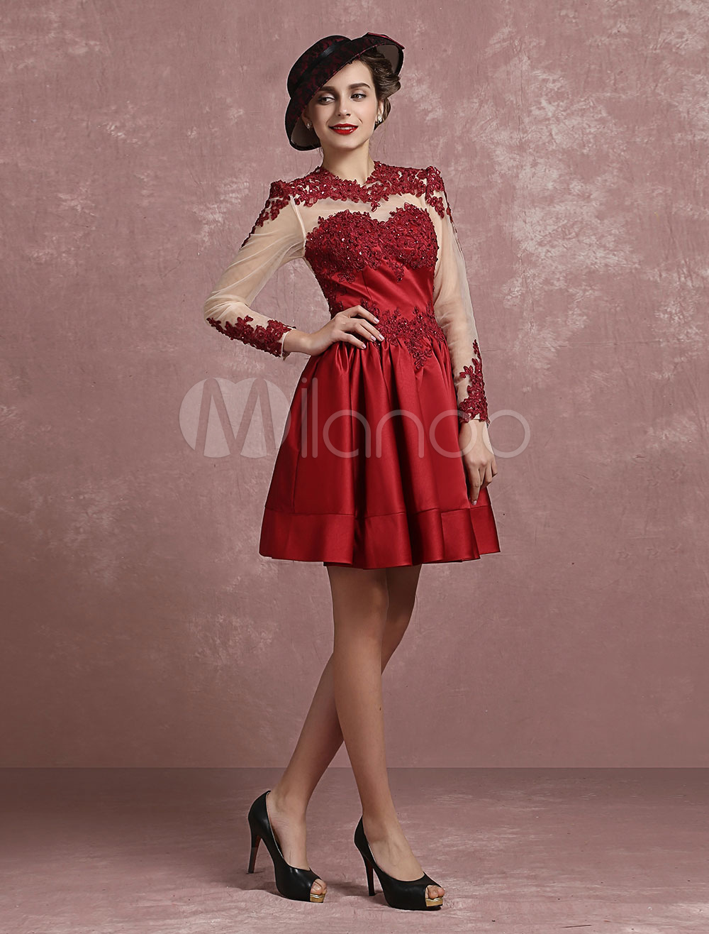 Satin Homecoming Dress Vintage Illusion Lace Applique Beaded Cocktail Dress Burgundy Jewel Long Sleeve Pleated A Line Short Party Dress (Wedding) photo