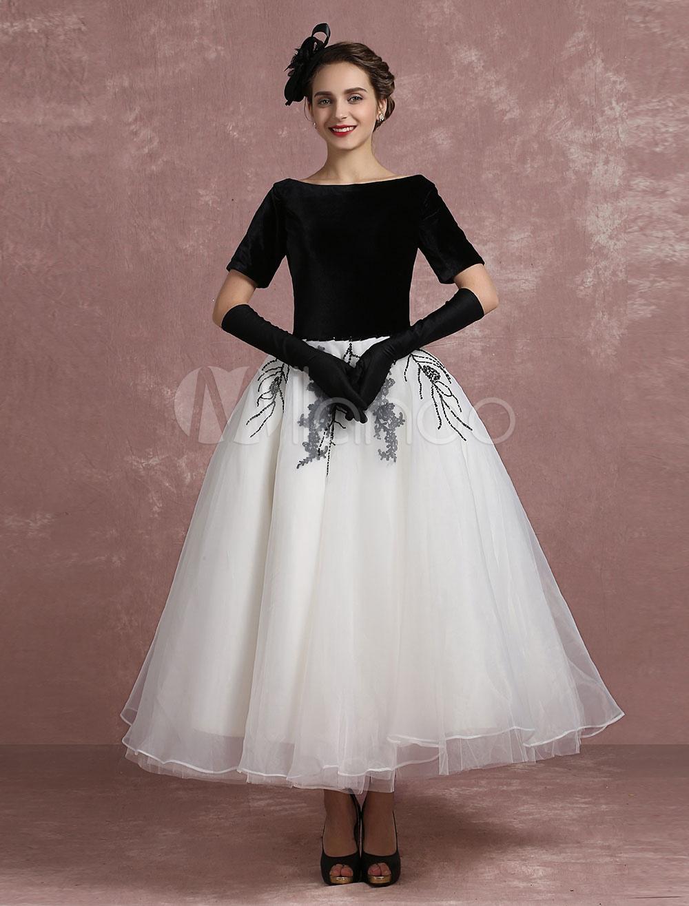 Vintage Cocktail Dress Black Applique Beaded Prom Dress Velvet Bateau Short Sleeve A Line Ankle Length Party Dress Milanoo (Wedding Cocktail Dresses) photo