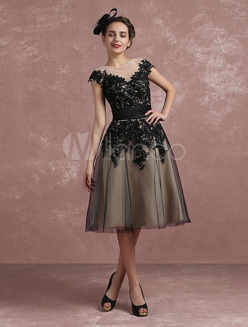 Vintage Cocktail Dress Illusion Lace Applique Beaded Occasion Dress Black Short Sleeve A Line Knee Length Party Dress (Wedding Cocktail Dresses) photo