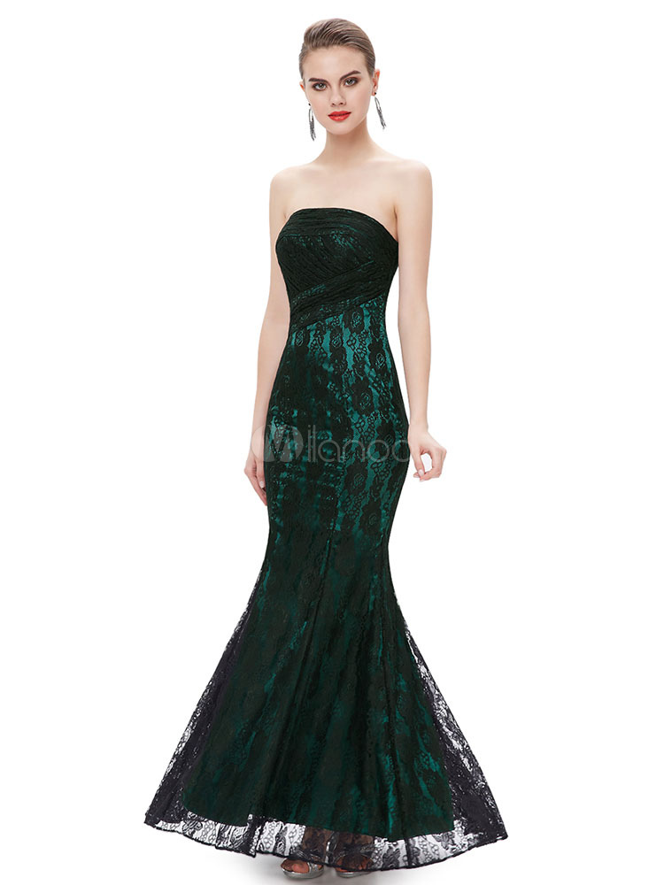 Lace Evening Dresses Mermaid Formal Dresses Dark Green Strapless Sleeveless Pleated Floor Length Party Dress (Wedding) photo