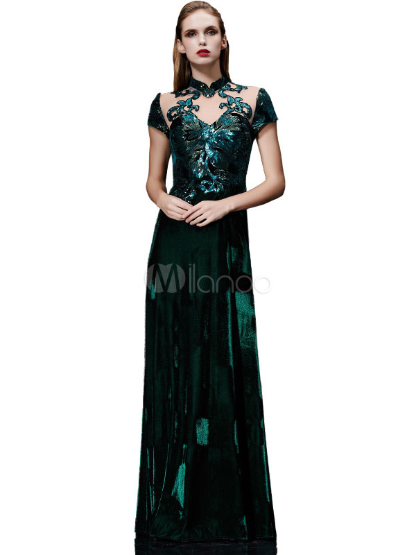 Velvet Evening Dress Illusion Sequin Mother's Dress Dark Green Stand Collar Short Sleeve A Line Floor Length Wedding Guest Dresses (Evening Dresses) photo