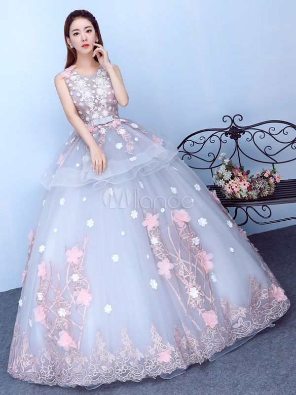 Princess Quinceanera Dresses Lace 3d Flowers Applique