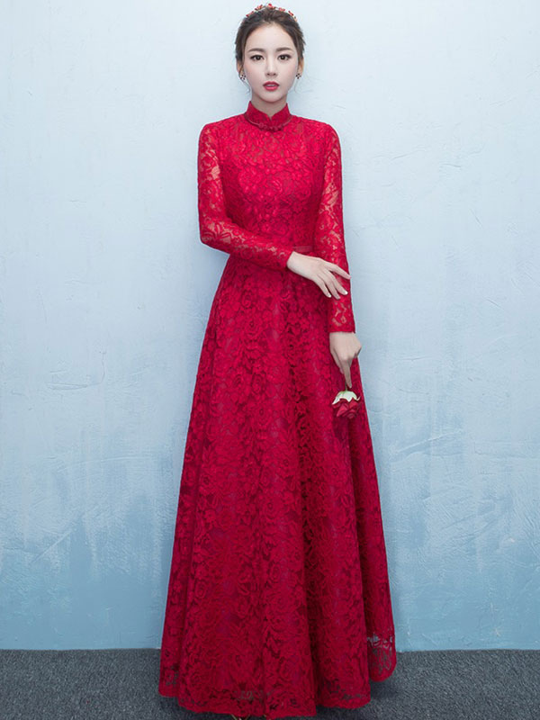 Lace Mother Of The Bride Dress Burgundy High Collar Occasion Dress Long Sleeve A Line Wedding Guest Dresses photo