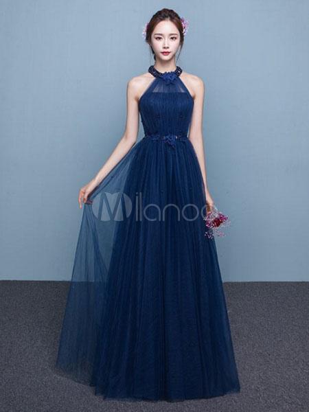 Blue Prom Dress 2018 Long Tulle Beading Occasion Dress Halter Sash Floor Length Party Dress (Wedding Prom Dresses) photo