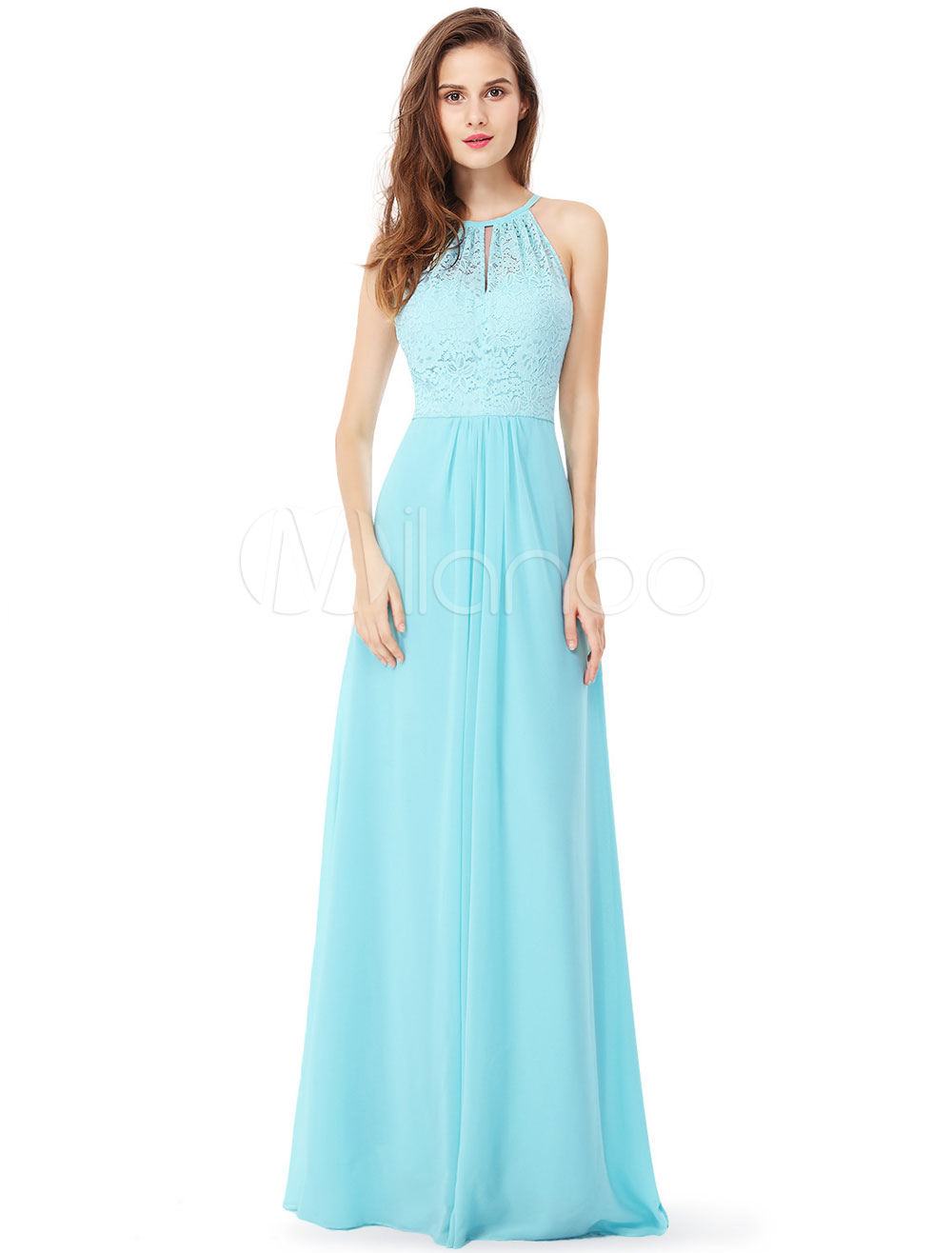 Lace Prom Dress Halter A Line Occasion Dress White Sleeveless Floor Length Party Dress (Wedding Prom Dresses) photo