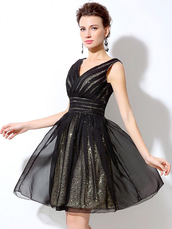 Sequin Cocktail Dress Black Short Prom Dress Chiffon V Neck Backless A Line Mini Graduation Dress (Wedding Cocktail Dresses) photo