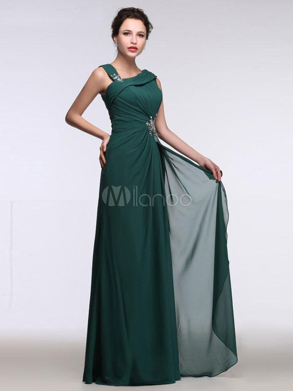Chiffon Mother Dress Hunter Green Evening Dress One Shoulder Strap Knotted Rhinestone A Line Maxi Party Dress (Wedding) photo