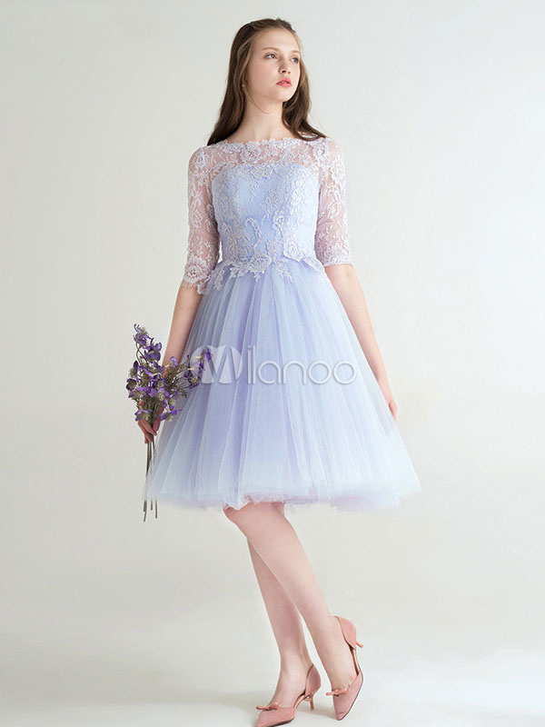 Short Prom Dress Baby Blue Cocktail Dress Tulle Lace Half Sleeve A Line Knee Length Homecoming Dress (Wedding Prom Dresses) photo