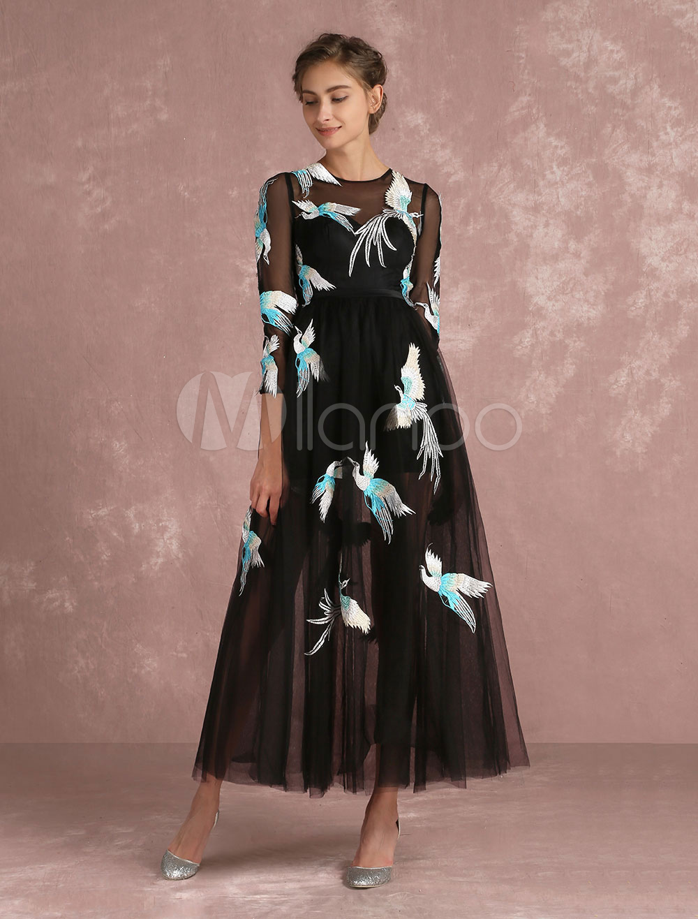 Black Prom Dresses 2018 Long Floral Print Cocktail Dress Tulle Illusion Embroidered Jewel 3/4 Length Sleeve Ankle Length Party Dresses (Wedding) photo