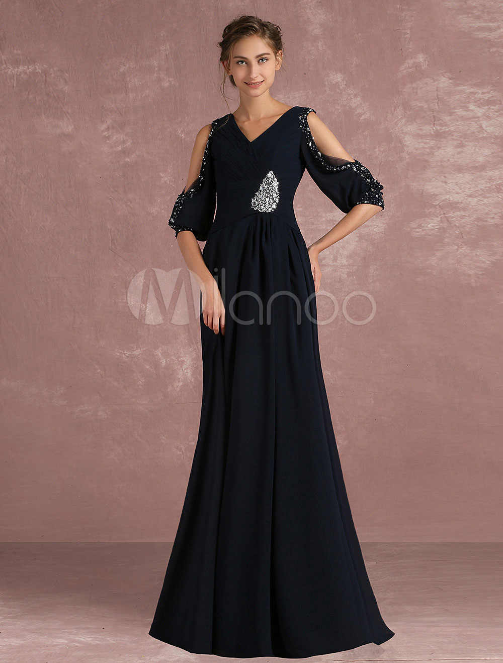Chiffon Evening Dress Cold Shoulder V Neck Formal Dress