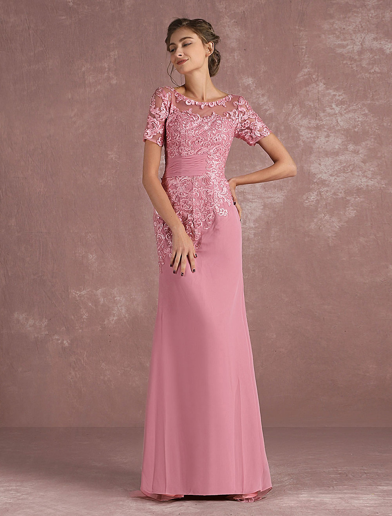 Mother Of The Bride Dress Lace Applique Mermaid Evening Dress Illusion Half Sleeve Cameo Pink Chiffon Wedding Guest Dresses With Train photo