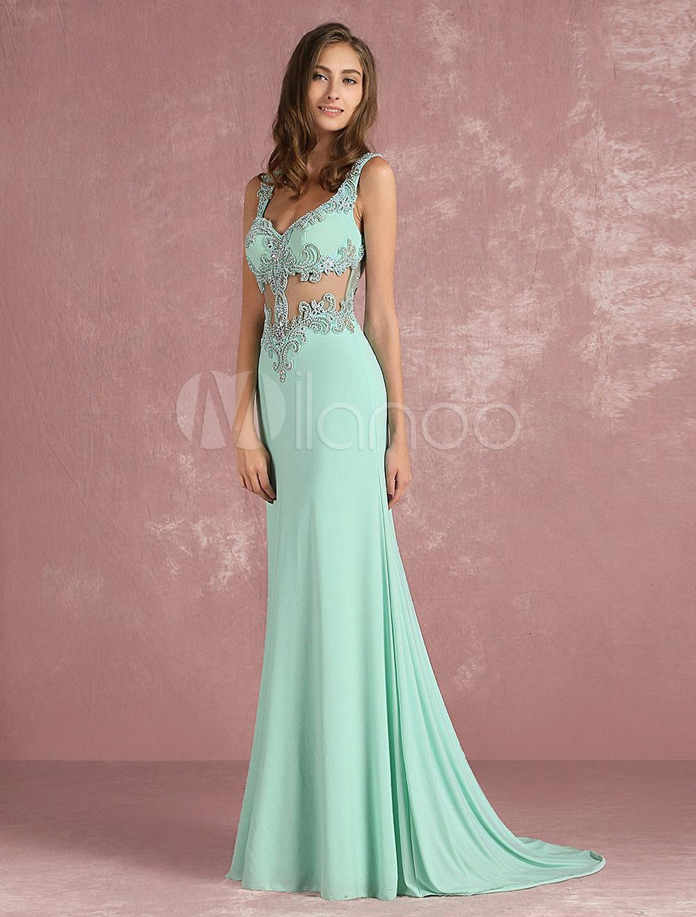 Mermaid Evening Dress Mint Green Illusion Beading Prom Dress Sweetheart Sleeveless Floor Length Party Dress With Train (Wedding Evening Dresses) photo