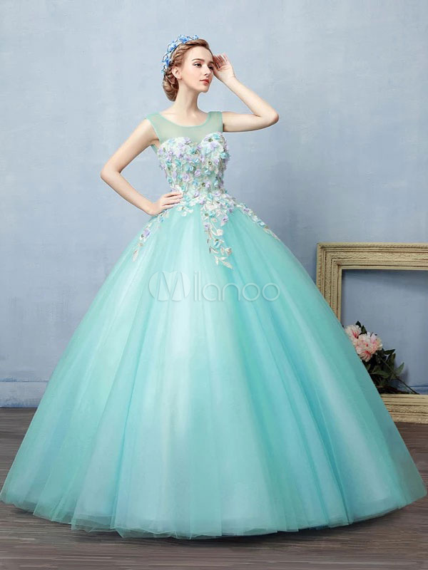 Mint Green Quinceanera Dress Tulle Ball Gown Pageant Dress Lace Flower Jewel Neckline Floor Length Prom Dress (Wedding Quinceanera Dresses) photo
