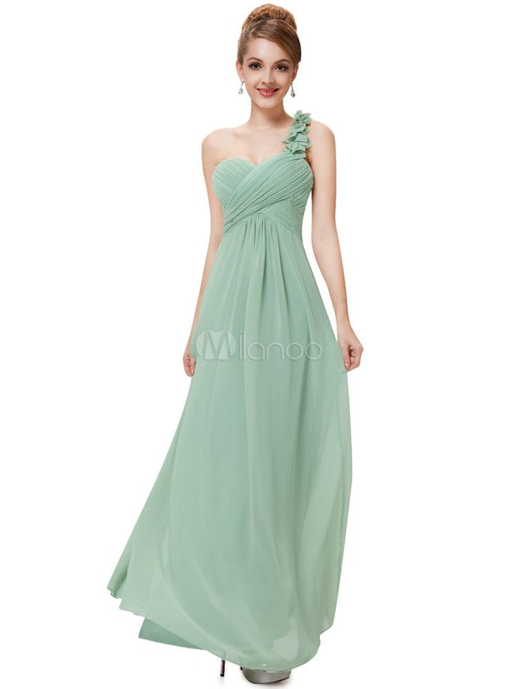 Long Bridesmaid Dress Sweatheart Chiffon Prom Dresses 2018 One Shoulder Flowers Strap Sage Green Pleated Floor Length Occasion Dress (Wedding) photo