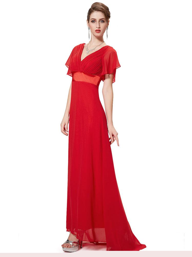 Red Bridesmaid Dress Chiffon V Neck Long Prom Dresses 2018 Short Sleeve Wide Sash Party Dress With Train (Wedding) photo