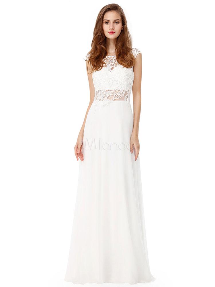 Long Prom Dress White Evening Dress Lace Cut Out Crewneck A Line Floor Length Chiffon Party Dress (Wedding Prom Dresses) photo