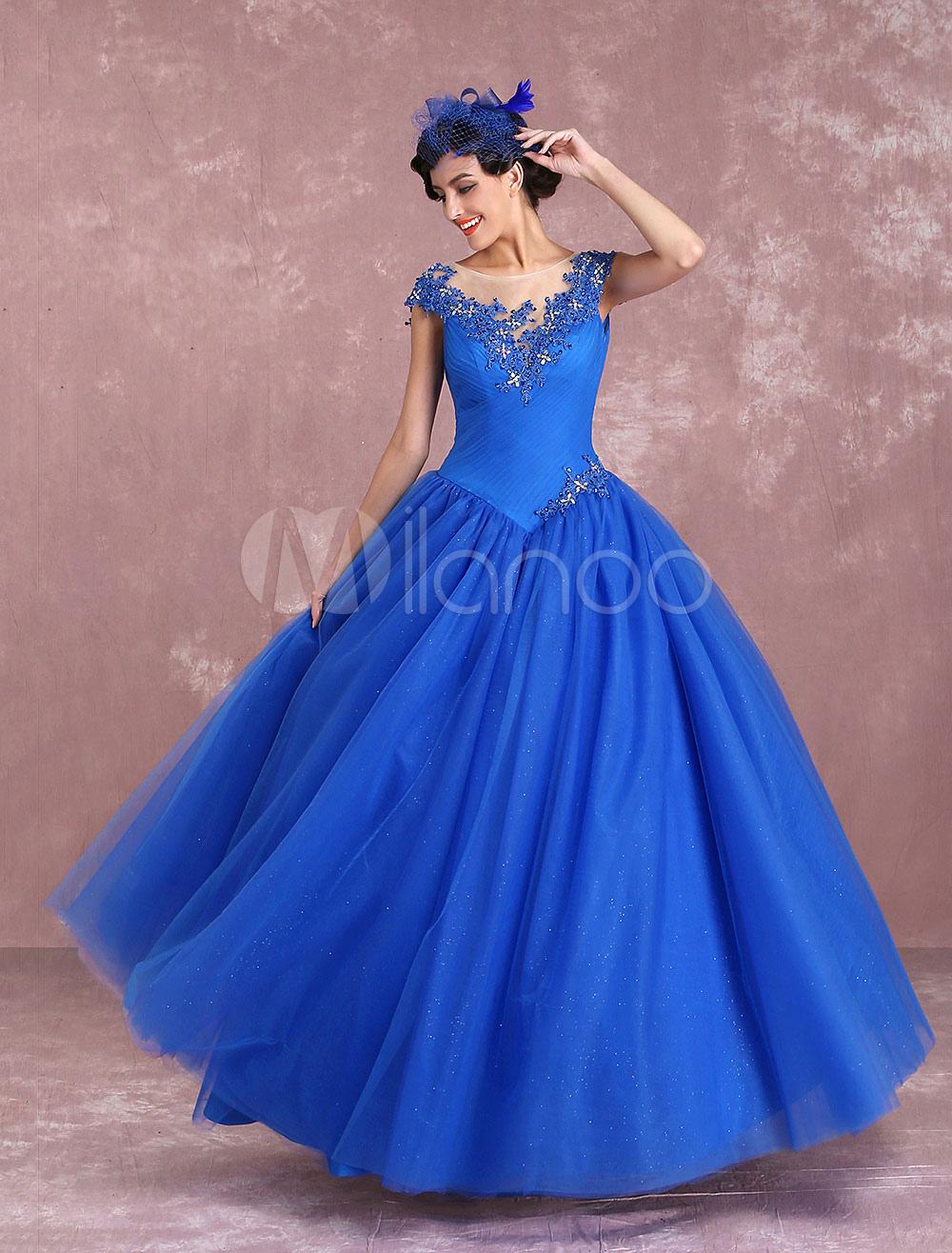 Princess Wedding Dresses Royal Blue Tulle Bridal Gown Illusion Neck Lace Applique Beading Floor Length Bridal Dress Milanoo photo