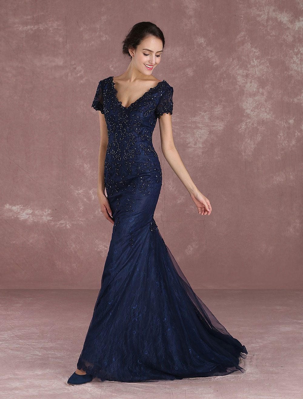 Mermaid Evening Dresses Lace Applique Beading Occasion Dresses Dark Navy V Neck Short Sleeve Party Dress (Wedding) photo