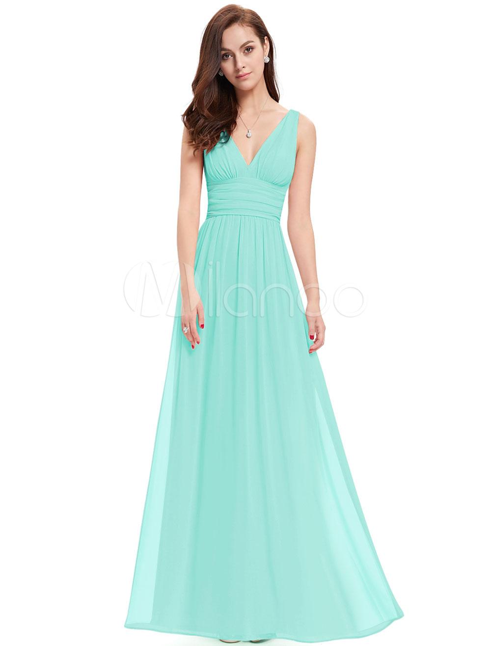 Chiffon Mother Dress Mint Green Long Prom Dress V Neck A Line Floor Length Party Dress (Wedding) photo
