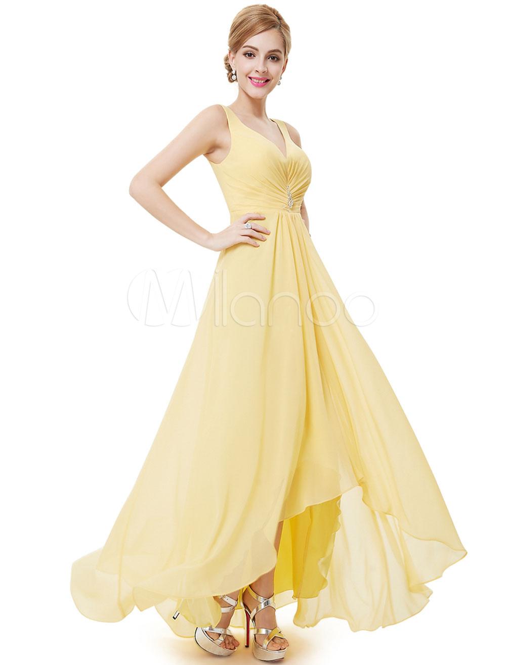 Chiffon Bridesmaid Dress Daffodil Long Prom Dress V Neck Pleated High Low A Line Party Dress (Wedding) photo
