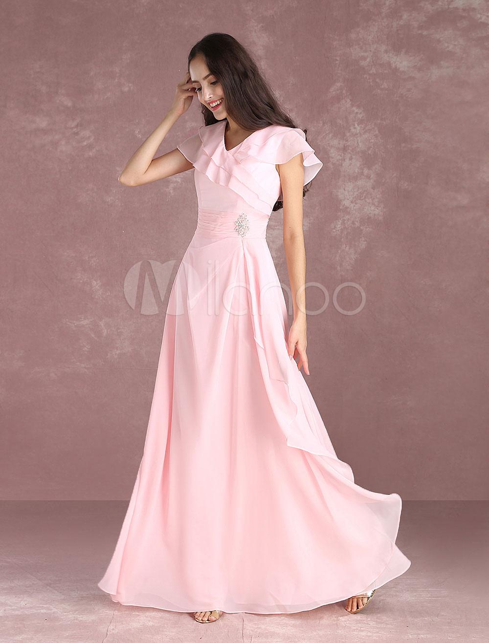Chiffon Bridesmaid Dresses Soft Pink Beading Long Prom Dresses V Neck Short Sleeve Pleated Floor Length Party Dress (Wedding) photo