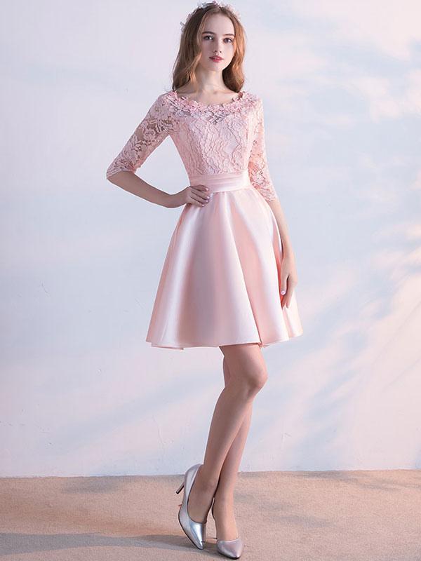 Robe f te de la rentr e a ligne tissu de satin rose clair for Meilleurs concepteurs de robe de mariage de plage