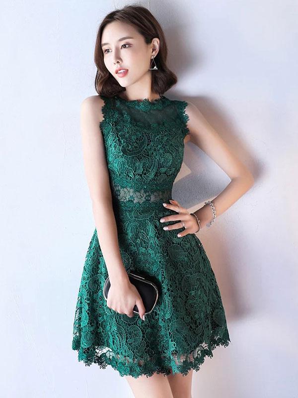 Lace Mother Dress Dark Green Cocktail Dress Illusion Waist A Line Short Wedding Guest Dresses photo