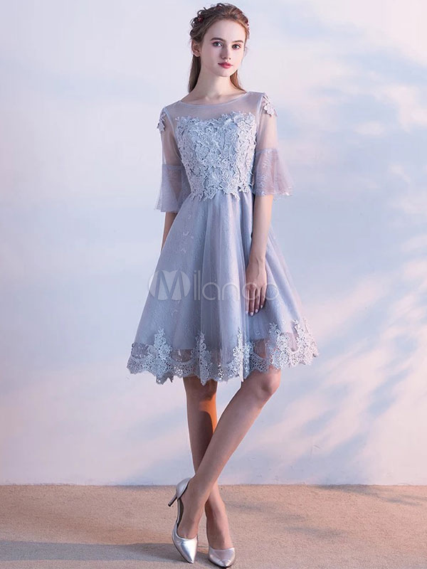 Lace Homecoming Dress Light Grey Illusion Neckline