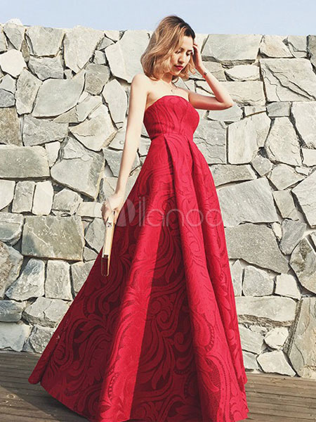 Long Prom Dresses 2018 Red Lace Evening Dress Strapless A Line Floor Length Party Dress With Detachable Shawl (Wedding) photo