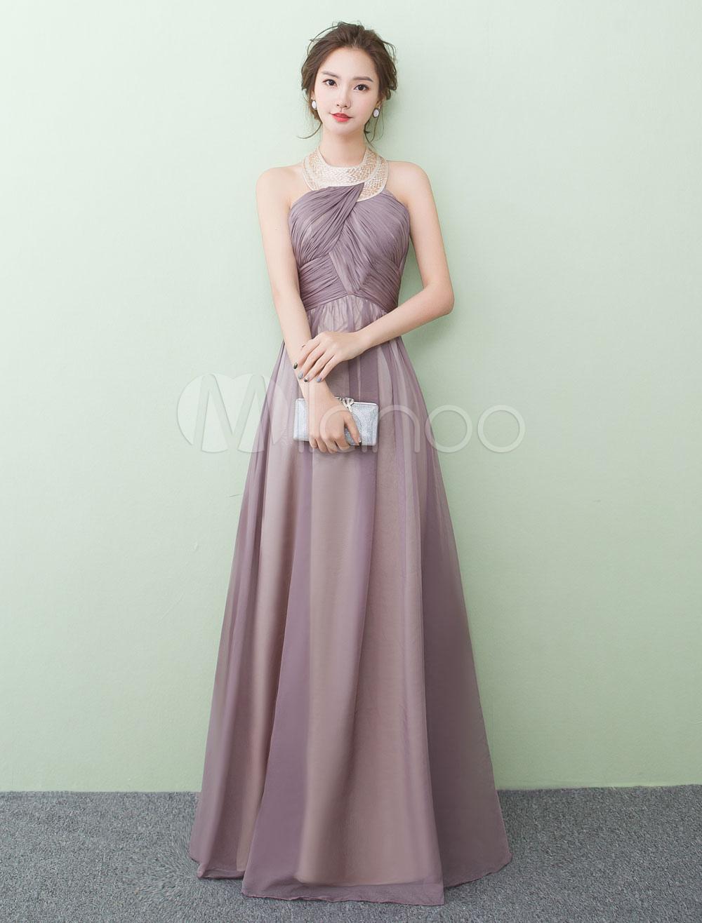 Chiffon Prom Dresses Halter Floor Length Evening Dresses Cameo Pink Sleeveless Pleated A Line Party Dress (Wedding) photo