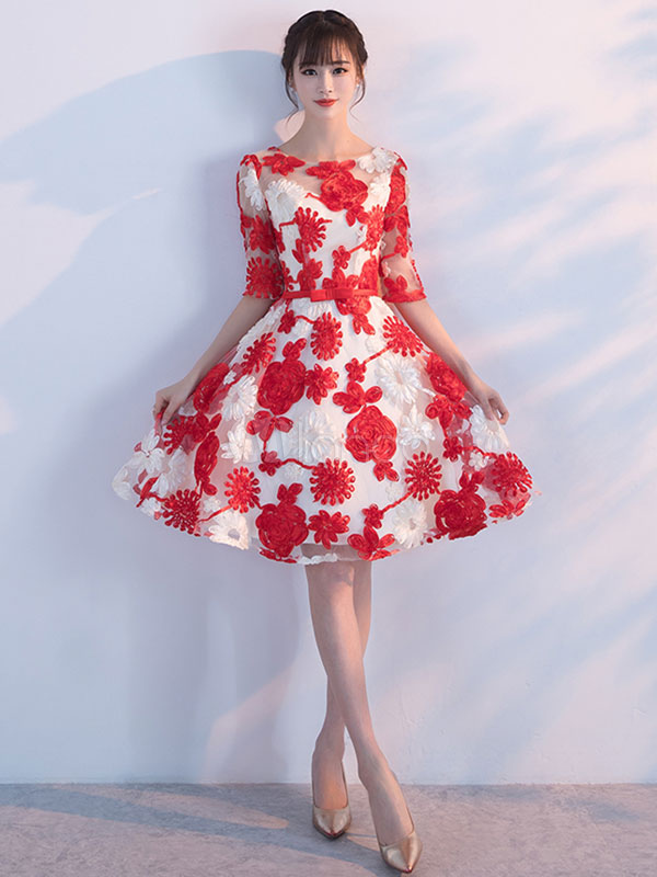 Red Homecoming Dresses Flowers Embroidered Short Prom Dress Half Sleeve Knee Length Cocktail Dress (Wedding) photo