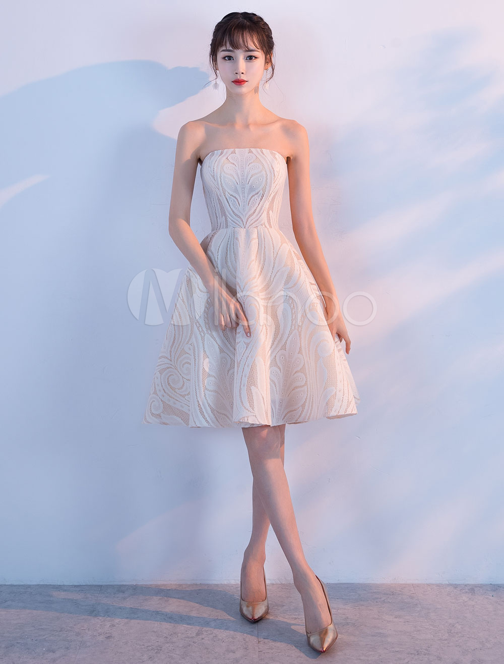 Ivory Homecoming Dresses Lace Short Prom Dress 2 Piece Cocktail Dress (Wedding) photo