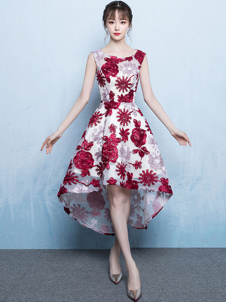 Burgundy Prom Dresses Short High Low Cocktail Dress Lace Sleeveless Party Dress (Wedding) photo