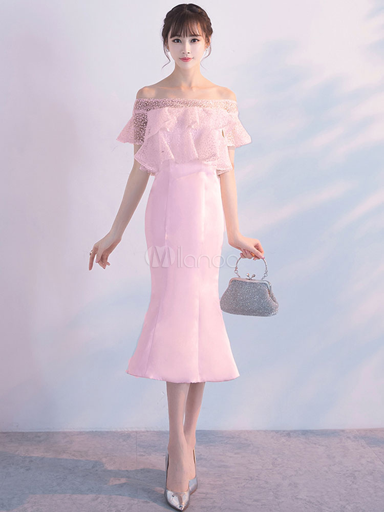 Mermaid Cocktail Dresses Off The Shoulder Soft Pink Ruffles Mid Party Dress (Wedding) photo