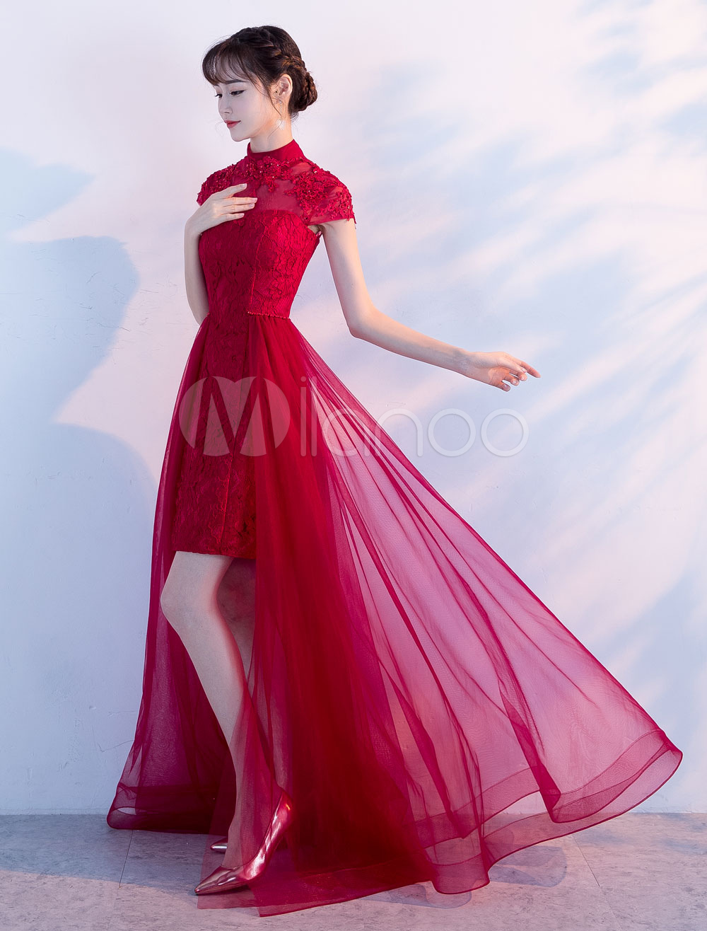 Burgundy Prom Dresses Long Lace Tulle Evening Dresses High Low Short Sleeve Formal Dress (Wedding) photo