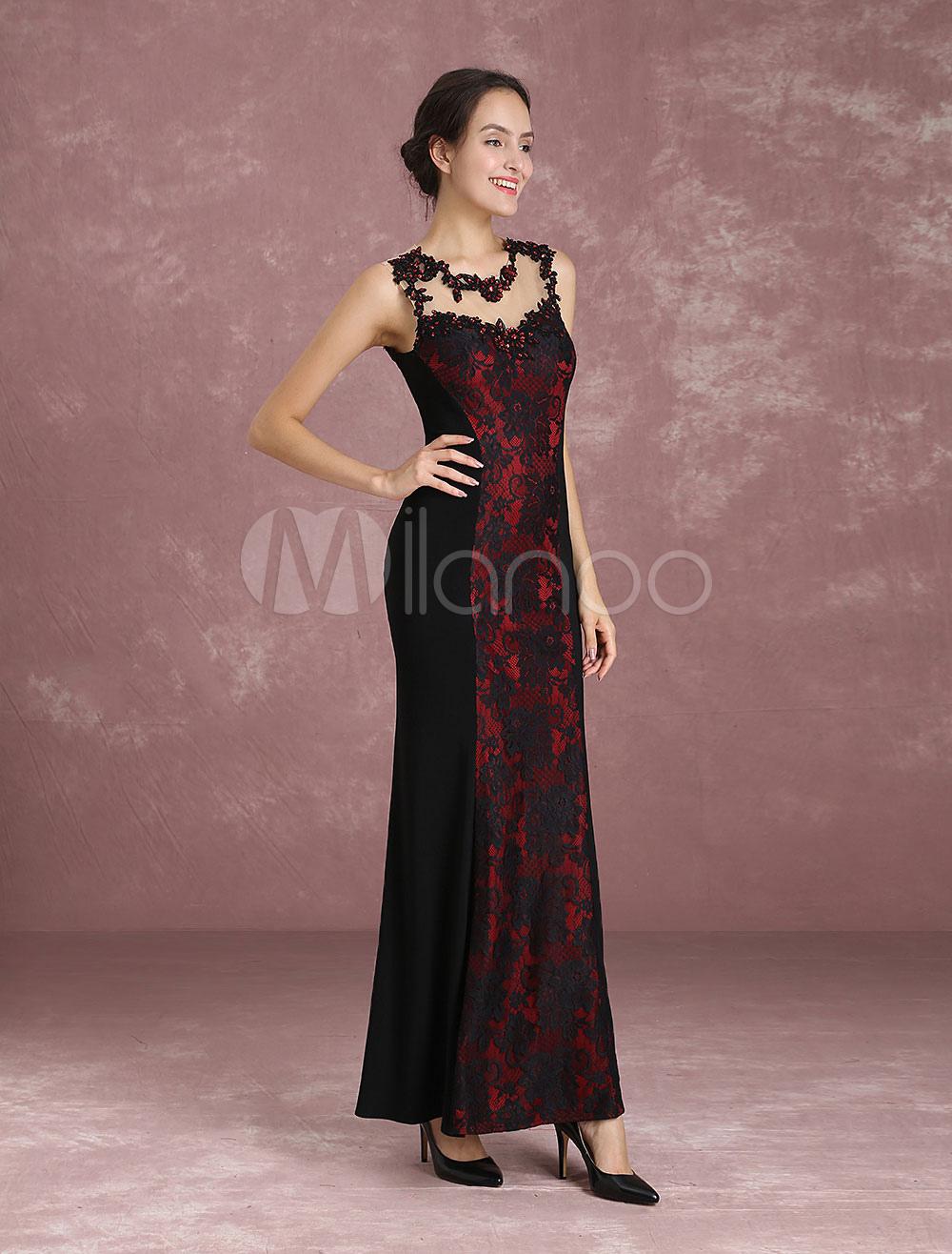 Lace Evening Dresses Illusion Beading Mothers Dress Black Sheath Sleeveless Floor Length Party Dresses (Wedding) photo