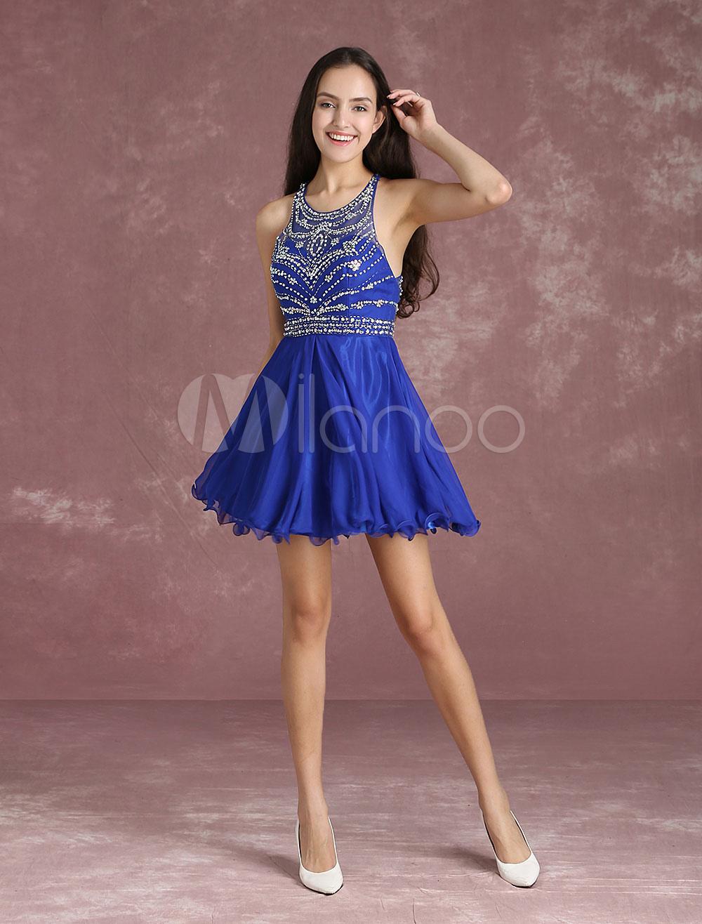 Chiffon Homecoming Dress Illusion Beading Prom Dresses Royal Blue Sleeveless Short Cocktail Dress (Wedding) photo
