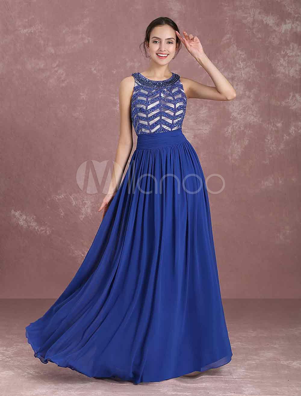 Chiffon Evening Dresses Royal Blue Beading Occasion Dresses Jewel Sleeveless Floor Length Party Dress (Wedding) photo