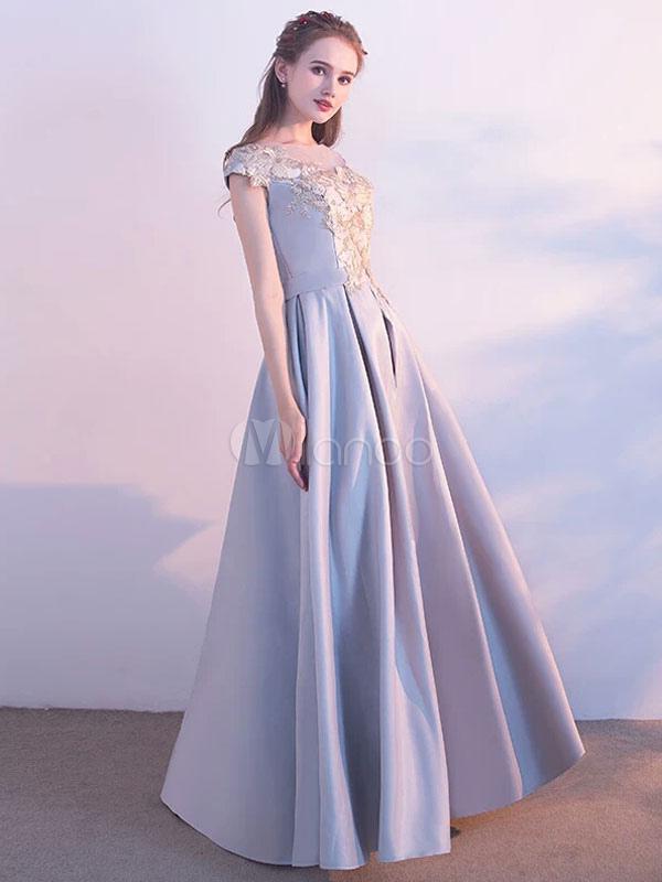 Long Prom Dresses Satin Light Grey Flowers Applique Floor Length Party Dress (Wedding) photo