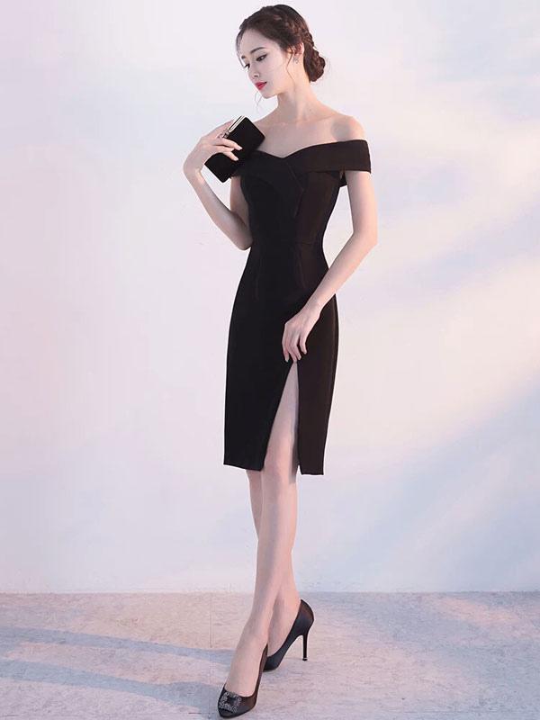 Black Cocktail Dress Off The Shoulder Short Satin Split Party Dresses (Wedding) photo